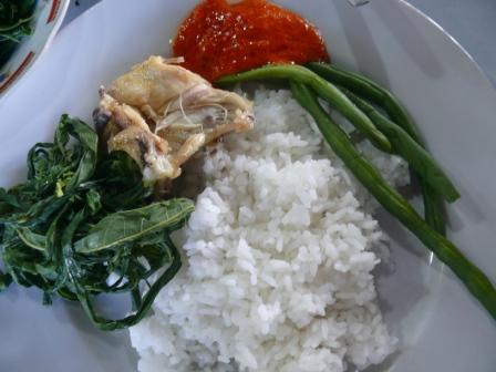 ayam pop sambal daun singkong bunci rebus